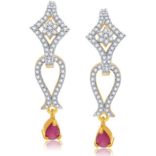 Sukkhi Alluring Gold And Rhodium Plated Ruby CZ Earrings For Women