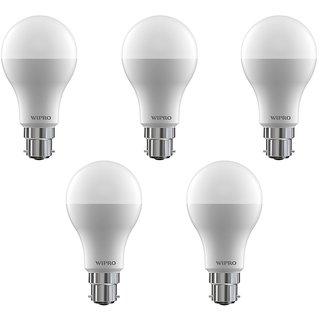 Wipro 9 W Led 6500K Cool Day Light Bulb (White Pack Of 5)