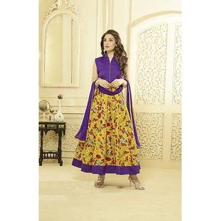 Thankar Purple And Multy Printed Bhagalpuri Print Anarkali Suit