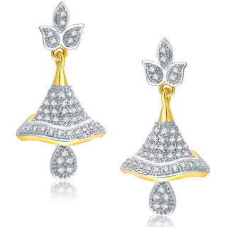 Sukkhi Lively Gold And Rhodium Plated CZ Jhumki For Women