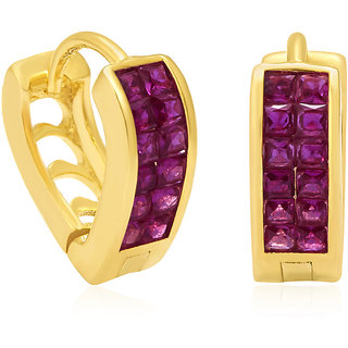Sukkhi Luscious Gold Plated Ruby CZ Hoop Earrings For Women