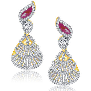 Sukkhi Engraved Gold And Rhodium Plated Ruby CZ Earrings For Women