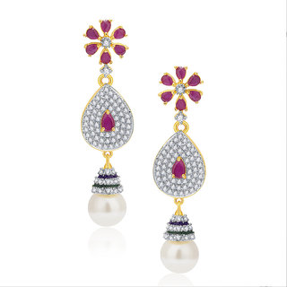 Sukkhi Exciting Gold And Rhodium Plated Ruby CZ Earrings For Women