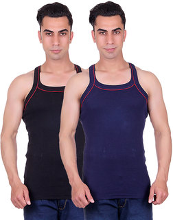 Odoky Mens BlackNavy Gym Vest-Pack of 2