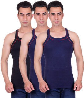Odoky Mens Black,NavyNavy Gym Vest-Pack of 3