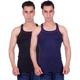 Odoky Mens BlackNavy Gym Vest-Pack of 2