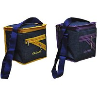 Gleam Mesh Padded Container Box Waterproof Lunch Bags         (Blue, Yellow, Purple, 10 L)