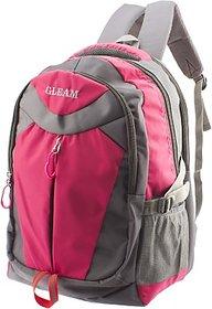 Gleam Mesh Padded School Waterproof School Bag         (Pink, Grey, 17 inch)