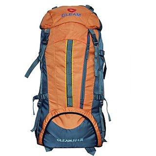 Gleam Mountain Trekking Hiking 75 Ltrs Rucksack with RAIN COVER     (Orange Rucksack)