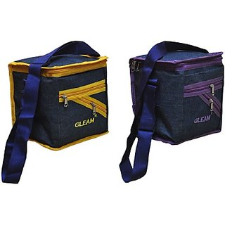 Gleam Mesh Padded Container Box Waterproof Lunch Bags     (Blue Yellow Purple 10 L)