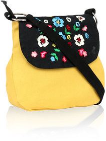Pick Pocket yellow sling bag with embroidery