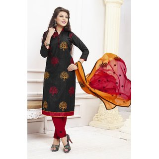 Thankar Black And Red Embroidered Cotton Dress Mateirial (Unstitched)