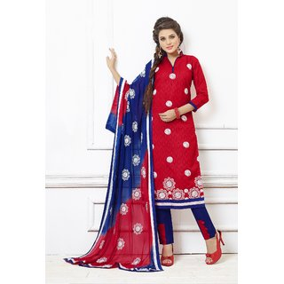 Thankar Red And Blue Embroidered Cotton Dress Mateirial