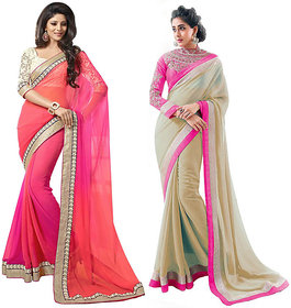 Bhuwal Fashion Beige  Peach Chiffon Embroidered Saree With Blouse