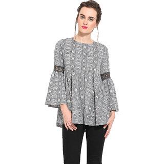 Rena Love Grey Crepe Printed Round Neck Tunic