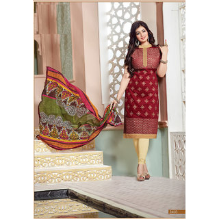 Trendz Apparels Maroon Chanderi Cotton Silk Staight Fit Salwar Suit (Unstitched)