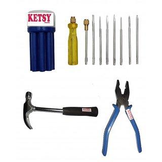 Ketsy 557 Hand Tool Kit 11 Pcs.(Screwdriver set of 9 Pcs.,Claw hammer /2lb, plier 8 inch)