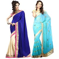 Bhuwal Fashion Blue Georgette Printed Saree With Blouse