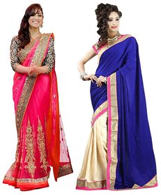 Bhuwal Fashion Blue Georgette Embroidered Saree With Blouse