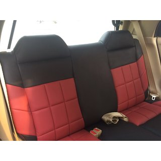 HJ CUSTOMIZED SEAT COVER, MODEL-BRIO S/BACK, DESIGN-SHARP, COLOR- RED+BLACK, STICH COLOR- RED