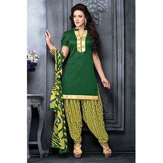 Green And Yellow Cotton Patiyala Dress Material