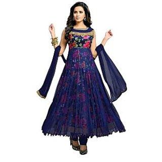 Shalini Floral Net Anarkali Salwar Suit Dress Material Blue