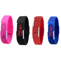 Pack Of Pink, Black, Red And Blue Led Watch For Men, Women, Boys, Girls