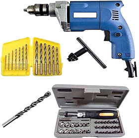 Powerful 10mm Drill Machine With 41 Pcs Screwdriver Toolkit