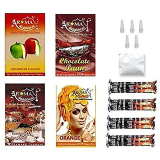 Alshan Aroma Happiness Herbal Hookah Flavour Combo of 4 Pack Plus 4 Rolls