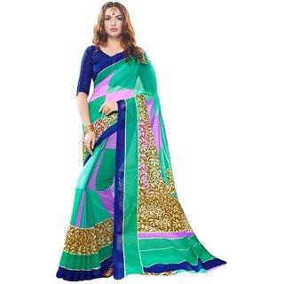 Triveni Green Net Printed Saree With Blouse