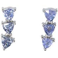 Three Tanzanite Gemstone Sparkling Blue Silver Dangle Earring