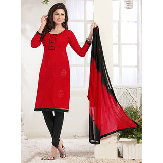 Sareemall Red Chanderi Embroidered Salwar Suit Dress Material (Unstitched)