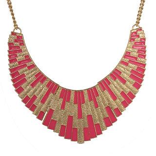 Fayon Fabulous Statement Hot Pink Bib Style Choker Necklace