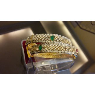 Jewellery For You A.D Bangles with pink and green stones
