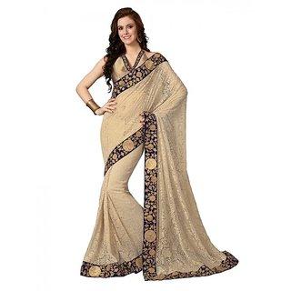 Shopeezo Daily Wear Beige Color Rasal Net Saree/Sari
