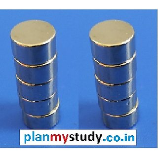 Neodymium N52 Grade Super Strong Magnet 6x6 mm, Type Cylindrical, Set of 10