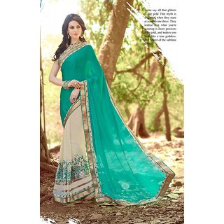 Sky Blue And Cream Color Georgette Saree