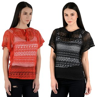 Raabta Black and Red Cotton Net Caftan