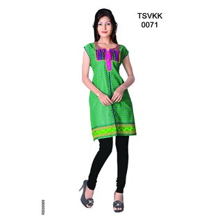 Triveni Multicolor Printed Cotton Stitched Kurti