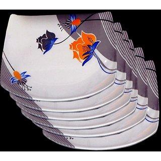 Set Of 6 Pcs Trendy White Melamine Half/ Quarter Dinner Plates - Design 16