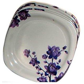 Set Of 24 Pcs Trendy White Melamine Half/ Quarter Dinner Plates - Design 11