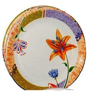 Set Of 24 Pcs Trendy White Melamine Full Dinner Plates - Design 8