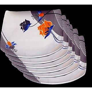 Set Of 24 Pcs Trendy White Melamine Half/ Quarter Dinner Plates - Design 16
