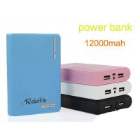 Reliable 12000 MAh Leather Diary Dual USB Powerbank With LED Torch - Assorted Colors - 6 Months Warranty