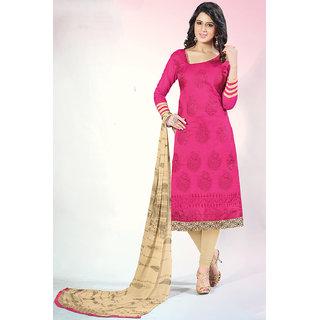 Sareemall Pink Chanderi Embroidered Salwar Suit Dress Material