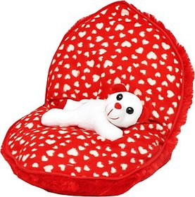 Tabby Toys Cute Teddy Hiding In Heart  - 30 cm (Red, White)
