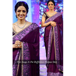 Thankar online trading Purple Silk Embroidered Saree With Blouse