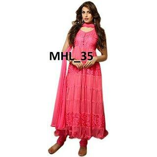 Shopeezo Daily Wear Dark Pink Color Net  Brasso Dress Semi-Stitched