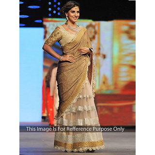 Thankar online trading Beige Net Embroidered Saree With Blouse