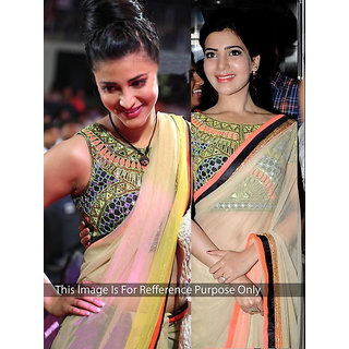 Thankar online trading Multicolor Net Embroidered Saree With Blouse